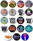 "Kids Retro TV Various 25mm, 1"" Button Badge, T to W,Ninja Transformers Trap Door"