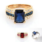 18K GP Simulated Sapphire Ring Use Swarovski Crystal R582B All Size
