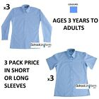 SALE 3 Pack Girls Blue School Uniform Blouses Shirts in Long or Short Sleeves