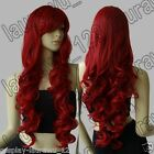 32 in. Long Heat Resistant Big Spiral Curl Dark Red Cosplay Wig Free Shipping
