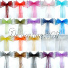 75PCS Organza Sheer Chair Sashes Wedding Party Cover Banquet Bows Colours Deco