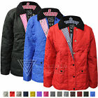 Ladies Womens Quilted Padded Zip Button Jacket Coat Top Summer Jeans Polo