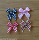 Gingham Ribbon Bow - 3 cm - Topper - Baby - Kids - Sewing - Cards/Scrapbooking