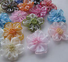 200/40pc Upick Organza ribbon flower bows Appliques Craft Wedding Decoration E44