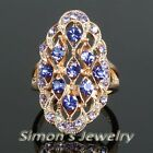 GP Ring with Blue Rhinestone Crystal JA047 All Size