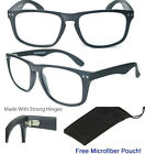 Large Matte Black Wayfarers Reader Reading Glasses Men Women Retro Classic Club