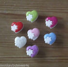 8 - Novelty Buttons - Heart w/Flower - Baby & Kid's - Clothing/Knitting/Sewing