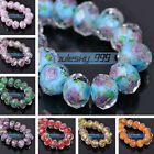 12pcs 12mm Faceted Lampwork Glass Rondelle Charms Findings Loose Spacer Beads