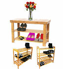 2 3 or 4 Tier Shoe Storage Rack Natural Walnut Wooden 2,3 or 4 Tier