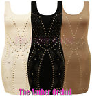 NEW LADIES SLEEVELESS GOLD STUDDED PATTERN BODYCON WOMENS DRESS TOP SIZES 8-14