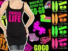 Choose Life Long Vest Top & Neon Leg Warmers, Headband & Sweatbands 8-16