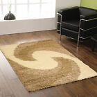 SMALL - EXTRA LARGE THICK CREAM IVORY BEIGE SWIRL MODERN SHAGGY RUG