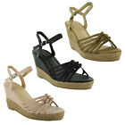 New Ladies Ankle Strappy Straw Wedge High Heel Platform Sandals Size 3 4 5 6 7 8