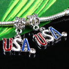 Enamel USA America Clear Austria Crystal Dangle Charm Beads Finding Fit Bracelet