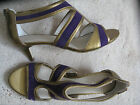 "M&S Purple & Gold 2"" kitten heel leather sandles/shoes(NEW)sizes 4.5 or 5-£45.00"