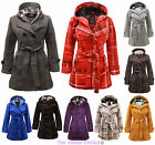 NEW LADIES BELTED BUTTON COAT WOMENS HOODED HOOD JACKET TOP SIZES 8-14
