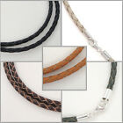 Sterling Silver 3mm Braided Genuine Leather Cord Necklace/Bracelet Lobster Clasp