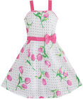 Girls Dress Pink Flower Green Leaves Black Dot Bow Tie SZ 5 6 7 8 9 10 11 12 NWT