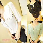 Womens Chiffon Short Sleeve Beaded  Studded Top Blouse See though Casual T-shirt