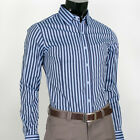 [Blue&Light Blue] Premium Slim Fit Mens Stripe Dress Shirts US size S M L(SL-07)