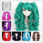 New 60CM Long WAVY clip on ponytails cosplay hair wig 5 colors+ wig cap RW137
