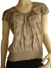 Blouse Top Shirt Summer Size 8 Women LUKA Coffee Brown Embroidered Leaves