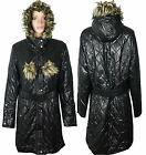 Womens Ladies Plus Size Quilted Padded Hooded Belted Long Jacket Coat 16 22 32