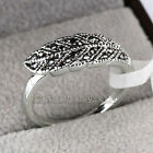 A1-R3035 Black Feather Fashion Ring 18KGP use Swarovski Crystal