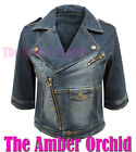 NEW LADIES LIGHT WASH DENIM 3/4 SLEEVE WOMENS CROPPED BIKER JACKET SIZES 8-14