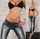 Sexy Low Rise Skinny Jeans Destroyed Look Blue Ripped Jeans Size 8-14