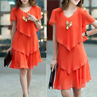Hot Orange Chiffon Short Sleeves Buds Trim Dress Size 12, 14, 16, 18, 20