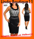 B89 Womens Black Sleeveless Cocktail Spring Race Party Pencil Midi Lace Dress