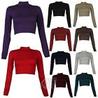 LADIES TURTLE MINI POLO NECK LONG SLEEVE CROP TOP TSHIRT JERSEY WOMENS SIZE 8-14