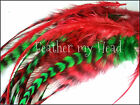 Christmas Whiting Grizzly Real  Feather Hair Extensions Kit Available