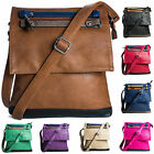 New Faux Leather Adjustable Strap Cross Body Womens Multi Trim Messenger Bag