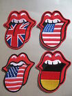 Tongue Flag Iron On / Sew On Patch rock & rolling mouth lips biker UK US America