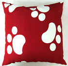EA111 White Dog Footprints Cotton Canvas Cushion Cover/Pillow Case *Custom Size*