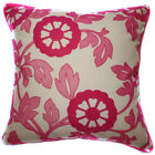 UF53a Deep Pink Flower Beige Velvet Style Cushion Cover/Pillow Case *Custom Size