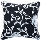 UF80a Off White Rose on Black Velvet Style Cushion Cover/Pillow Case Custom Size