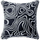 UL54a Off White Wave Curve on Black Velvet Style Cushion Cover/Pillow Case Size