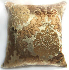 Wa02a Brown Gold Print Damask Velvet Cushion Cover/Pillow Case *Custom Size*