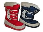 NEW GIRLS BOYS CHILDRENS WINTER FUR LINED MOON BOOTS SNOW ICE SKI RED BLUE SZ3-5
