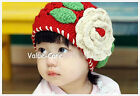 Girl Kid Big Flower Knit Winter Hat Kids Crochet Toddler Beanie Headwear Ski Cap