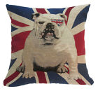 "Nj27a Linen Blend UK English Flag Bulldog Dog Cushion Cover/Pillow Case 16""-18"""