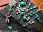 Handcrafted Turquoise gemstone necklace Angel Fairy Celtic style 16-18""
