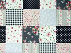 100% cotton BLACK GREY floral spots patchwork squares print craft bunting fabric