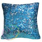 Ga005a Blue Silver 6mm Sequins w/ Velvet Cushion Cover/Pillow Case*Custom Size*