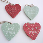 WOODEN HEARTS POLKA DOT HUGS & KISSES BEST FRIEND RED AND SAGE READY TO HANG