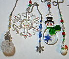 assorted stained glass snowman & snowflake fan light pulls rearview mirror charm