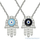 Evil Eye Turkish Hamsa Hand of Fatima Pendant Kabbalah Charm 925 Silver Necklace